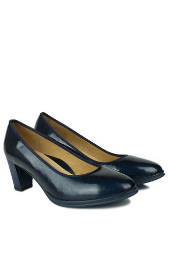 - Canilh 840176 420 Kadın Lacivert Deri Topuklu Ayakkabı (1)