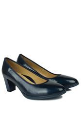 Canilh 840176 420 Kadın Lacivert Deri Topuklu Büyük & Küçük Numara Ayakkabı - Thumbnail