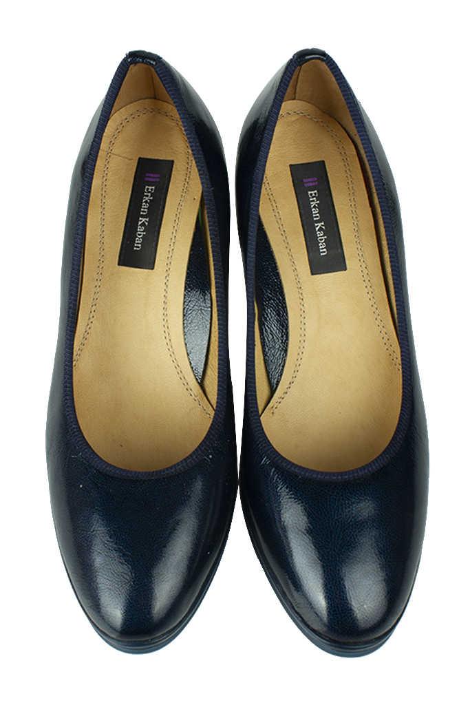 Canilh 840176 420 Kadın Lacivert Deri Topuklu Büyük & Küçük Numara Ayakkabı