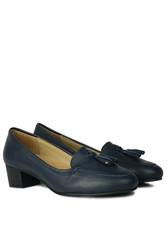 Fitbas 840177 418 Kadın Lacivert Deri Topuklu Büyük & Küçük Numara Ayakkabı - Thumbnail