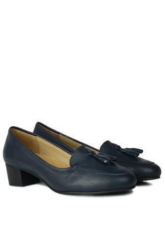 Fitbas - Fitbas 840177 418 Kadın Lacivert Deri Topuklu Büyük & Küçük Numara Ayakkabı (1)
