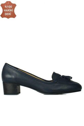 Fitbas 840177 418 Kadın Lacivert Deri Topuklu Büyük & Küçük Numara Ayakkabı