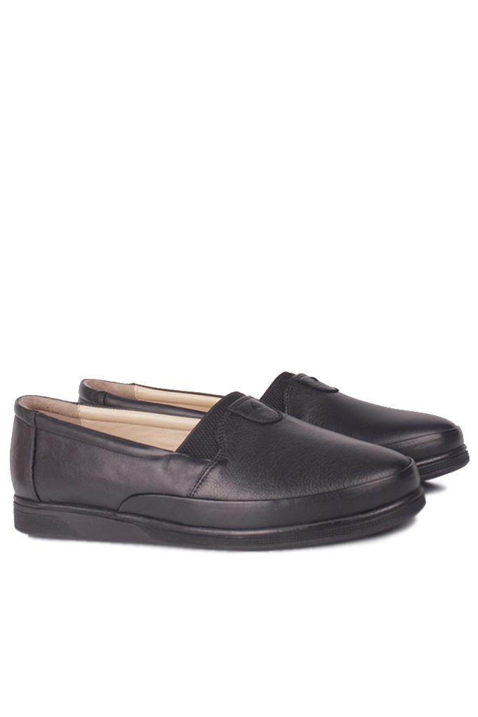 Fitbas 155001 013 Kadın Siyah Hakiki Deri Günlük Büyük Numara Ayakkabı