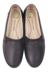 Fitbas 155001 013 Kadın Siyah Hakiki Deri Günlük Büyük Numara Ayakkabı - Thumbnail