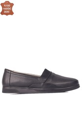 Fitbas 155100 013 Kadın Siyah Hakiki Deri Günlük Büyük Numara Ayakkabı - Thumbnail