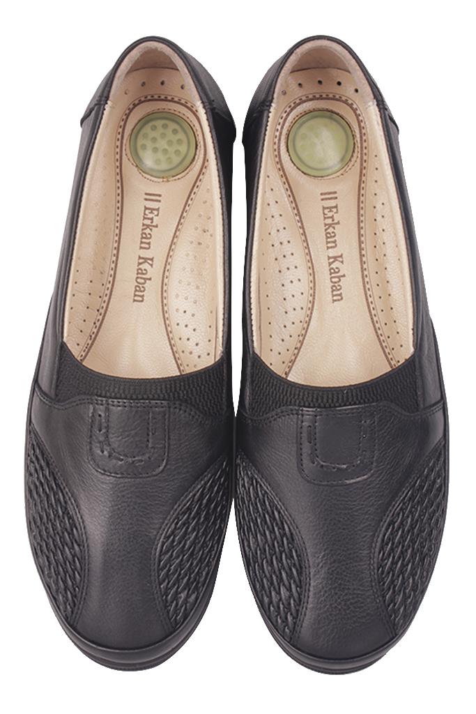 Fitbas 155102 013 Kadın Siyah Hakiki Deri Günlük Büyük Numara Ayakkabı