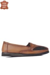 Fitbas 155102 167 Kadın Taba Hakki Deri Günlük Büyük Numara Ayakkabı - Thumbnail