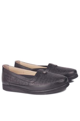 Fitbas - Fitbas 155103 013 Kadın Siyah Hakiki Deri Günlük Büyük Numara Ayakkabı (1)