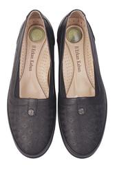 Fitbas 155103 013 Kadın Siyah Hakiki Deri Günlük Büyük Numara Ayakkabı - Thumbnail