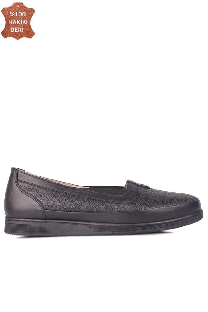 Fitbas 155103 013 Kadın Siyah Hakiki Deri Günlük Büyük Numara Ayakkabı