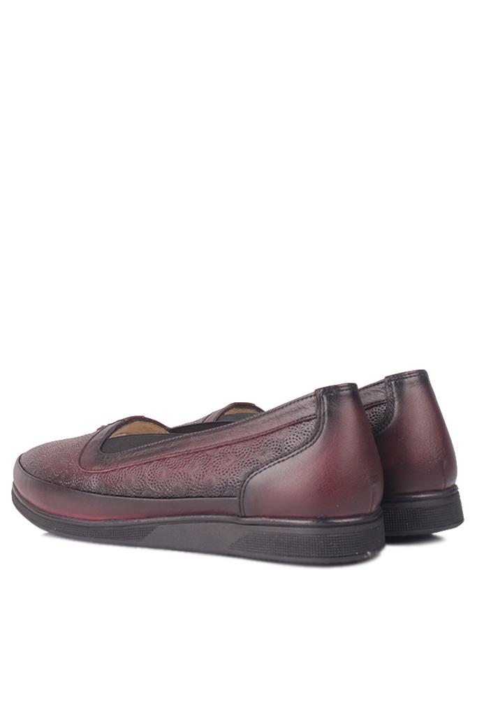 Fitbas 155103 624 Kadın Bordo Hakiki Deri Günlük Büyük Numara Ayakkabı