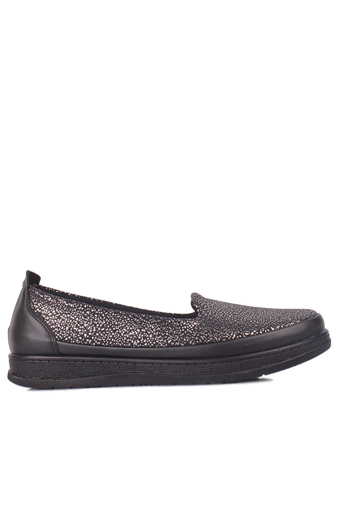 Fitbas 155401 014 Kadın Gümüş Siyah Günlük Büyük Numara Ayakkabı