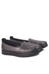 Fitbas 155401 014 Kadın Gümüş Siyah Günlük Büyük Numara Ayakkabı - Thumbnail