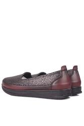 Fitbas 155401 624 Kadın Gümüş Bordo Günlük Büyük Numara Ayakkabı - Thumbnail