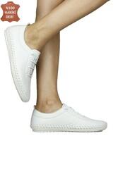 Fitbas 625041 468 Kadın Beyaz Deri Günlük Büyük Numara Ayakkabı - Thumbnail