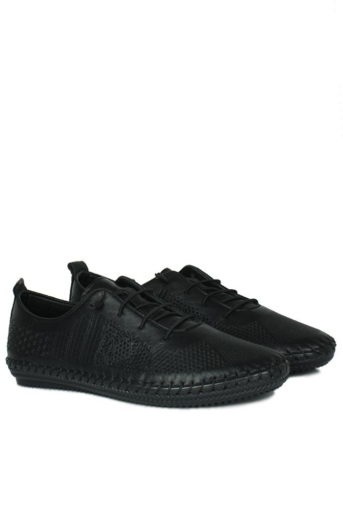 Erkan Kaban 625042 014 Kadın Siyah Deri Günlük Büyük Numara Ayakkabı