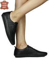 Fitbas 625042 014 Kadın Siyah Deri Günlük Büyük Numara Ayakkabı - Thumbnail