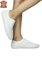 Fitbas 625042 468 Kadın Beyaz Deri Günlük Büyük Numara Ayakkabı - Thumbnail