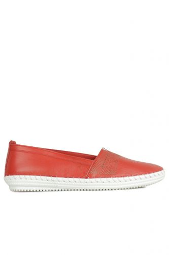 Erkan Kaban 625043 524 Kadın Kırmızı Deri Günlük Büyük Numara Ayakkabı