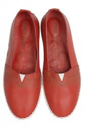 Erkan Kaban 625043 524 Kadın Kırmızı Deri Günlük Büyük Numara Ayakkabı - Thumbnail