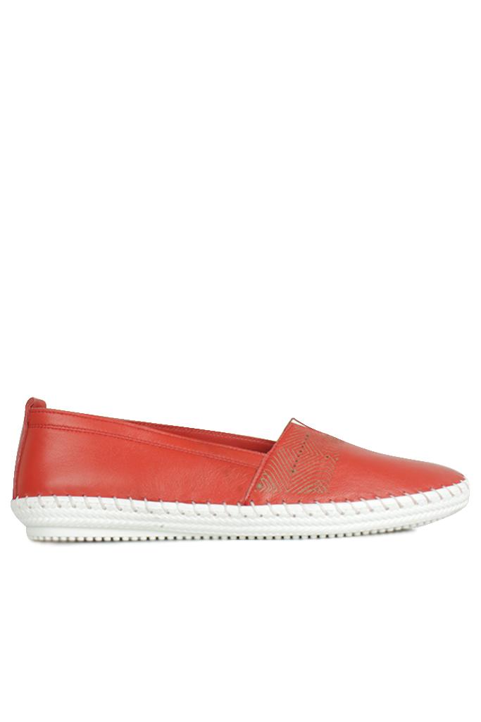 Fitbas 625043 524 Kadın Kırmızı Deri Günlük Büyük Numara Ayakkabı
