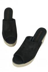 Fitbas 6436 008 Kadın Siyah Süet Büyük & Küçük Numara Terlik - Thumbnail