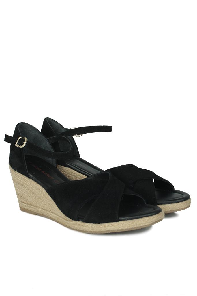 Fitbas 6620 008 Kadın Siyah Süet Büyük & Küçük Numara Sandalet