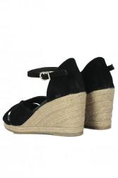Fitbas 6620 008 Kadın Siyah Süet Büyük & Küçük Numara Sandalet - Thumbnail