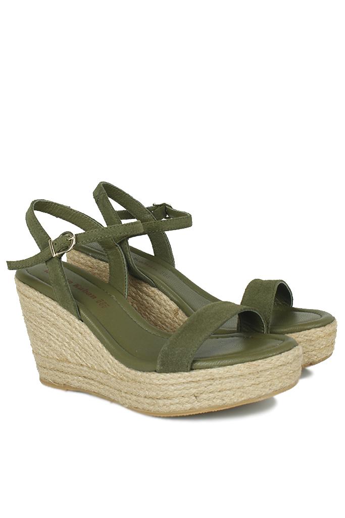 Fitbas 6662 677 Kadın Haki Süet Dolgu Topuk Büyük & Küçük Numara Sandalet