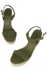 Erkan Kaban 6662 677 Kadın Haki Süet Dolgu Topuk Büyük & Küçük Numara Sandalet - Thumbnail