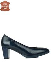 Fitbas 840176 420 Kadın Lacivert Deri Topuklu Büyük & Küçük Numara Ayakkabı - Thumbnail