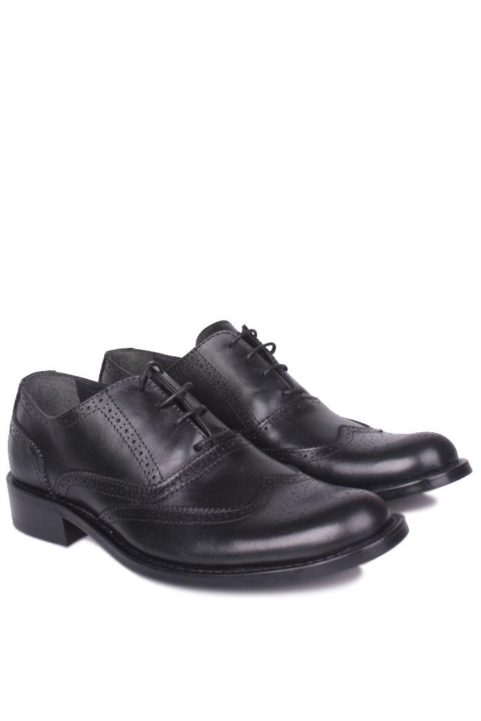 Fitbas 327 014 Erkek Siyah Deri Klasik Büyük & Küçük Numara Ayakkabı