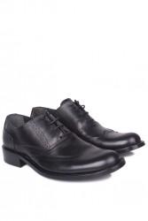 Fitbas 327 014 Erkek Siyah Deri Klasik Büyük & Küçük Numara Ayakkabı - Thumbnail