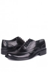 Erkan Kaban 327 020 Erkek Siyah Açma Deri Klasik Büyük & Küçük Numara Ayakkabı - Thumbnail