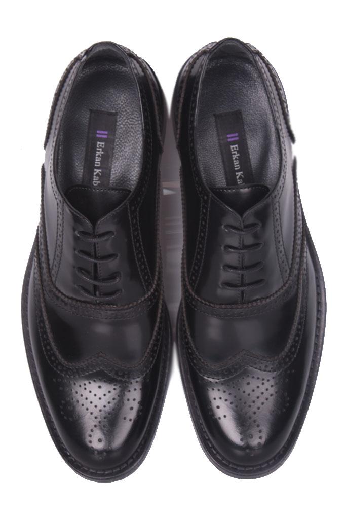 Erkan Kaban 327 020 Erkek Siyah Açma Deri Klasik Büyük & Küçük Numara Ayakkabı