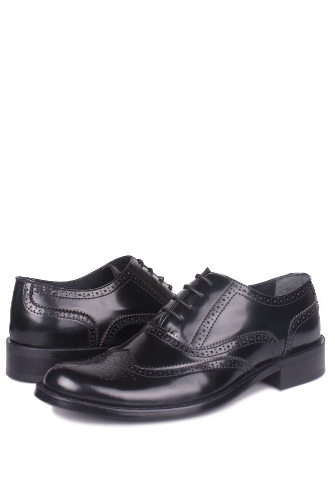 Fitbas 327 020 Erkek Siyah Açma Deri Klasik Büyük & Küçük Numara Ayakkabı