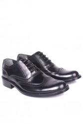 Fitbas 327 020 Erkek Siyah Açma Deri Klasik Büyük & Küçük Numara Ayakkabı - Thumbnail