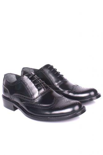 Fitbas - Fitbas 327 020 Erkek Siyah Açma Deri Klasik Büyük & Küçük Numara Ayakkabı (1)
