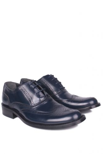 Fitbas - Erkan Kaban 327 420 Men Navy Blue Mad Shiny Genuine Leather Classical Shoes (1)