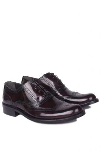 Fitbas - Erkan Kaban 327 620 Men Claret Red Mad Shiny Genuine Leather Classical Shoes (1)