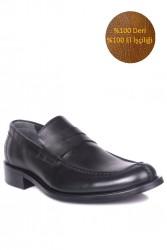 Fitbas 332 014 Erkek Siyah Deri Klasik Büyük & Küçük Numara Ayakkabı - Thumbnail