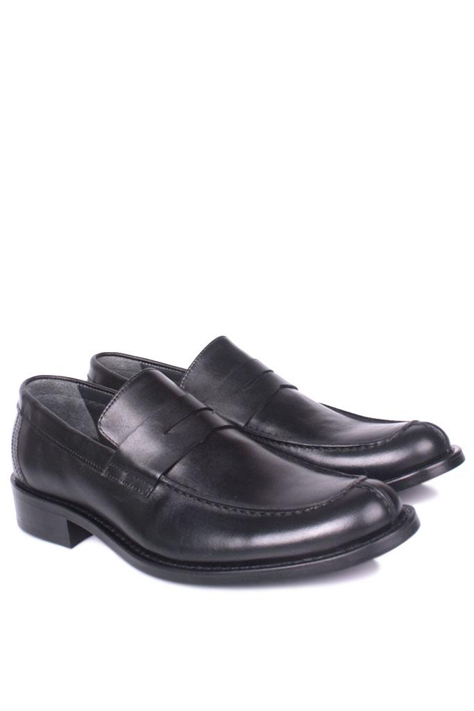 Fitbas 332 014 Erkek Siyah Deri Klasik Büyük & Küçük Numara Ayakkabı