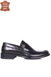 Erkan Kaban 332 020 Erkek Siyah Açma Deri Klasik Büyük & Küçük Numara Ayakkabı - Thumbnail