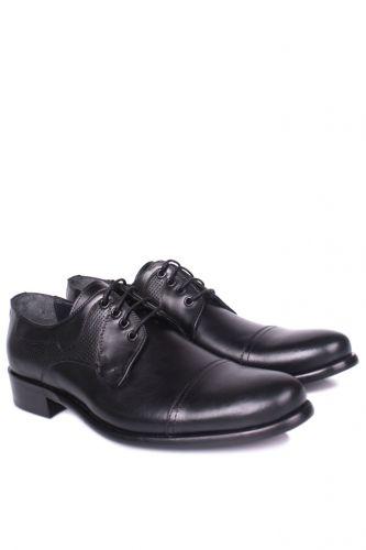 Fitbas - Fitbas 754 019 Erkek Siyah Deri Klasik Büyük & Küçük Numara Ayakkabı (1)
