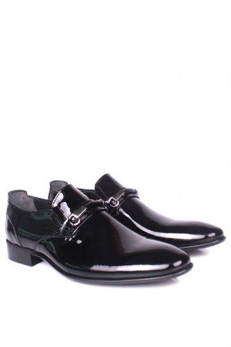 36 37 38 39 46 48 49 Küçük Büyük Numara Erkek Ayak - Erkan Kaban 956 020 Erkek Siyah Rugan Klasik Ayakkabı (1)