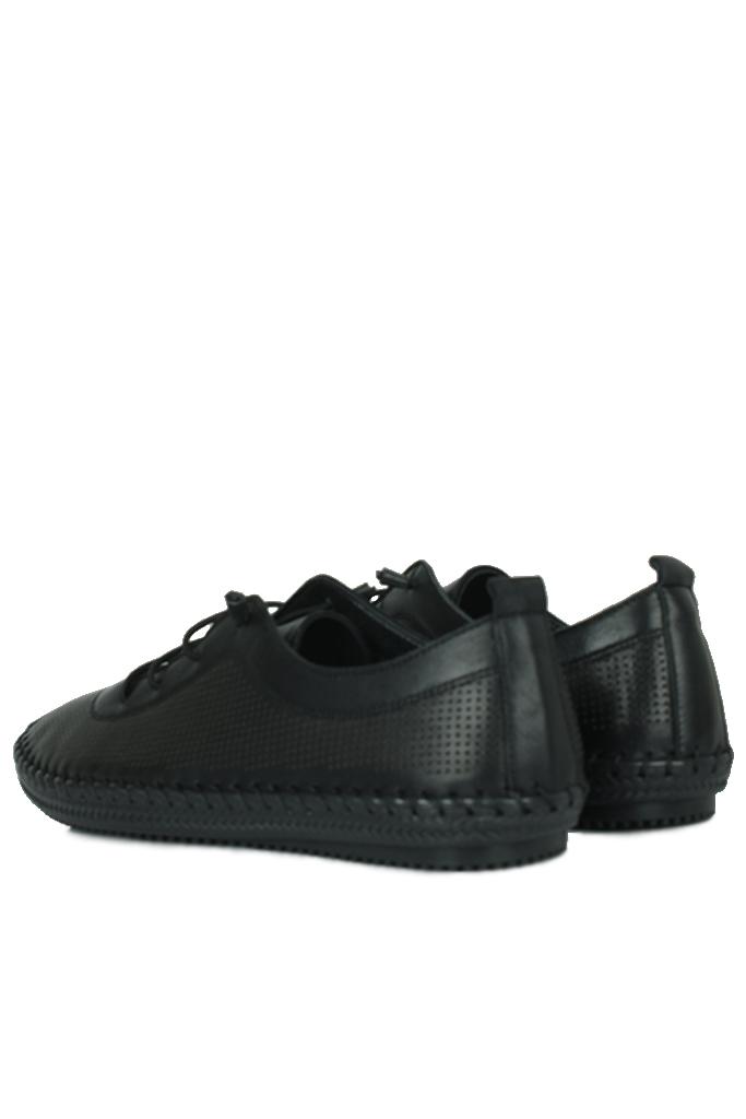 Fitbas 625040 014 Kadın Siyah Deri Günlük Büyük Numara Ayakkabı
