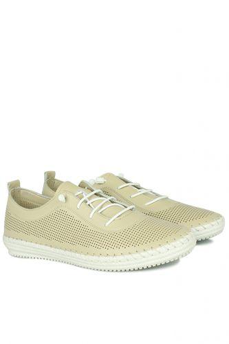 Fitbas - Fitbas 625040 324 Kadın Bej Deri Günlük Büyük Numara Ayakkabı (1)