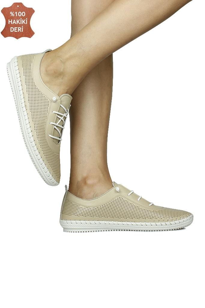 Fitbas 625040 324 Kadın Bej Deri Günlük Büyük Numara Ayakkabı
