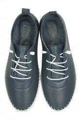 Fitbas 625040 419 Kadın Lacivert Deri Günlük Büyük Numara Ayakkabı - Thumbnail