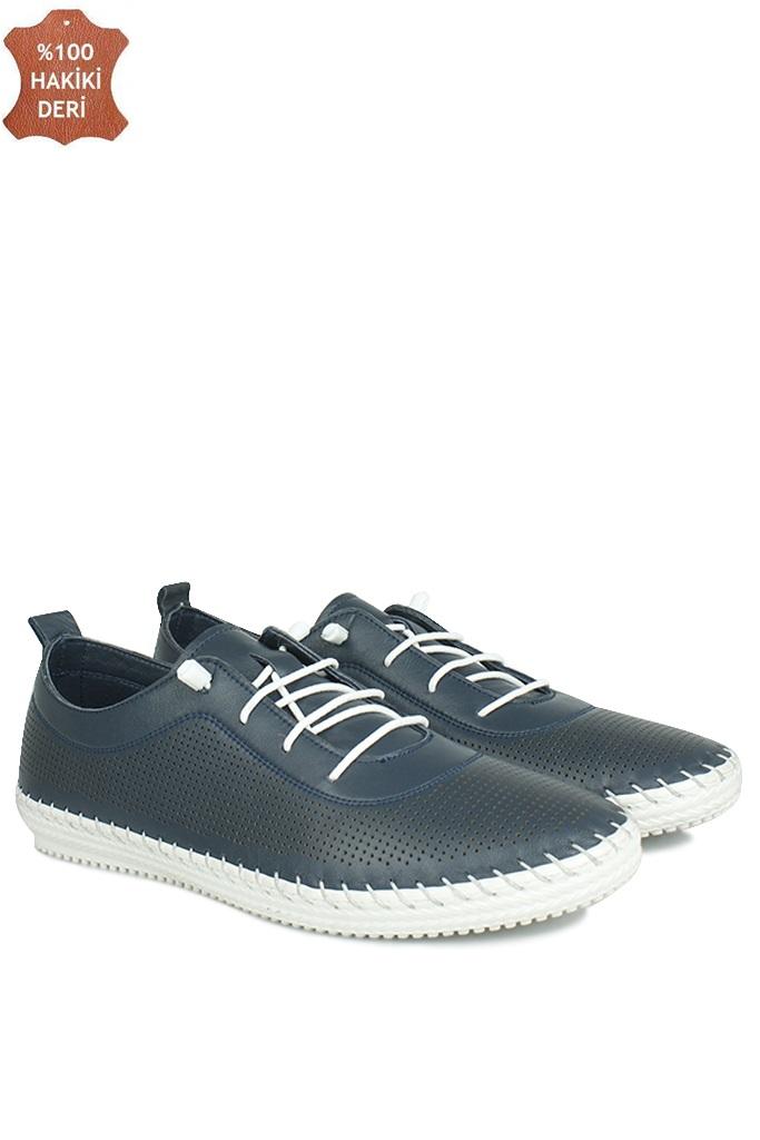 Fitbas 625040 419 Kadın Lacivert Deri Günlük Büyük Numara Ayakkabı